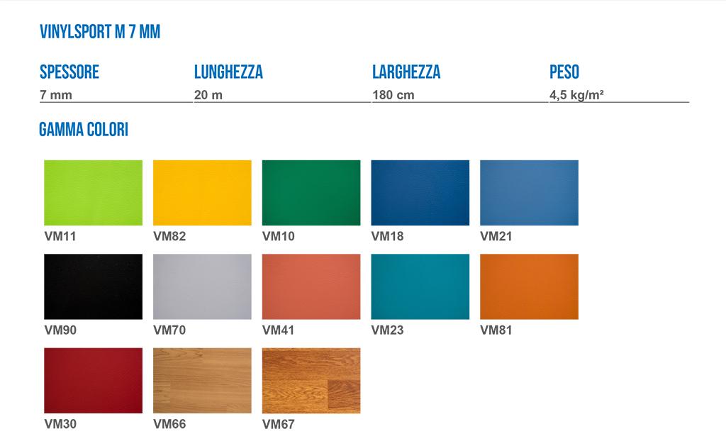 cartella colori vinyl mondo pvc sportivo palestra 7mm